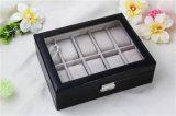 Fábrica de la venta directa de la PU del cuero del rectángulo de madera sólida caja de reloj inteligente