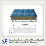 Panneau isolé par sandwich en acier ondulé de Rockwool les deux côtés avec le faisceau d'unité centrale