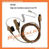 Écouteur de tube d'air limpide de nécessaires de surveillance avec des PTTs de revers pour la radio d'Icom