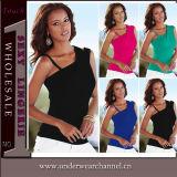Do projeto da forma das mulheres camisa superior traseira nova baixo (TGLDS0971)