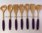 Utensilios de bambú de la cocina de la alta calidad con las manetas del silicón