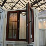 Окно Casement цветастого термально пролома высокого качества Kz250 алюминиевое деревянное с Multi стеклом двойника замка с решеткой