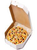 주문 피자 상자에 의하여 주름을 잡은 피자 상자를 나르십시오
