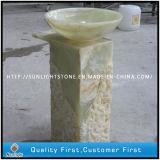 Pulido forma de la flor amarillo Onyx lavabos de mármol granito para baño