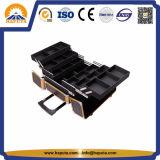 Gold-u. schwarze Aluminiumlaufkatze-kosmetischer Verfassungs-Fall Hb-3332