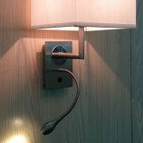 호텔 객실 침대 곁 거위 목 모양의 관 유연한 LED와 직물 그늘 독서 벽 빛