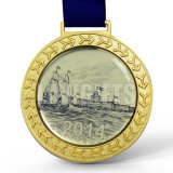 安い習慣は印刷のリボンが付いているデザインによって昇華させた金属のエポキシの印刷のロゴの円形浮彫りメダルを個人化した