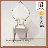 Schürhaken-Art-Form-Edelstahl-weißes Leder-Hochzeits-Stuhl