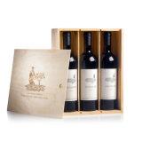 Rectángulo de regalo de papel del vino de cuatro paquetes con la ventana