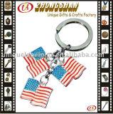 Изготовленный на заказ металл Keychain Keyring сплава цинка формы логоса национального флага