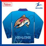 Cor preta algumas camisas de Sweatershirts da proteção solar da pesca do Sublimation do logotipo