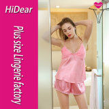 여자 Sleepwear 섹시한 란제리 공단 피스 Cami 2개 간결 잠옷 세트