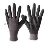 перчатки серой Nylon ладони нитрила пены черноты вкладыша 13G ультра тонкой Coated