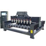 Máquina de gravura / enrutador de madeira rotativa CNC 4 cabeças de 4 eixos