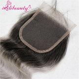 Chiusura brasiliana dei capelli umani di colore di Omber fatta di merletto svizzero