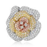 큰 꽃 CZ 다이아몬드 925 순은 반지 보석