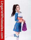 Hülsen-Mischungs-Farben-Schule-Cheerleader-Kostüm des reizvollen Mädchens langes