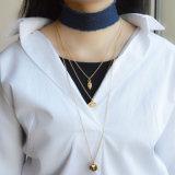 Choker Handmade azul das calças de brim com a colar do pendente do coração do olho mau de cristal chapeado do ouro