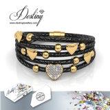 Het Kristal van de Juwelen van het lot van de Armband van de Liefde van het Leer Swarovski