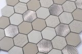 Hexagon Marmeren Mengeling van het Mozaïek met Metaal