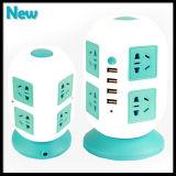 Soquete múltiplo da torre vertical do soquete de potência 8 com 4 cabos das portas de saídas do USB & do cabo distribuidor de corrente de 2m