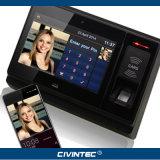 Programa de lectura biométrico sin hilos elegante del explorador NFC Bluetooth de la huella digital de la máquina del reloj de tiempo de WiFi 3G con la batería, cámara
