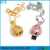 Jeweled USB Flash Drive Pendant Necklace Diamond USB Memória Flash