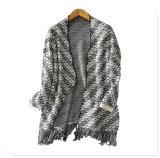 Donne che coprono il cappotto di lavoro a maglia del cardigan del cachemire puro spesso della fabbrica con Tessel inferiore