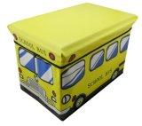 Tamborete amarelo do armazenamento da série do barramento dos miúdos para brinquedos e roupa