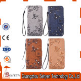 Caisse gravée en relief en forme de coeur de téléphone mobile de cuir de configuration pour l'iPhone 7 positif