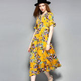 Boho gelbe gedruckte Frauen kleiden lang mit Taste an