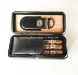 Caisse de cigare télescopique Cèdre-Rayée par cuir italien de 5 doigts de Brown avec l'accent de cuivre en métal