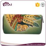 2017 bolsos del dinero del embrague de las mujeres, diseño de la manera de los monederos de las carpetas de las mujeres del cuero genuino