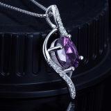 方法女性925の純銀製の紫色の水晶吊り下げ式のネックレス