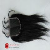 Fechamento superior do laço com cabelo humano de Remy do brasileiro de 100%