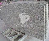 Isla de cocina de piedra natural (granito amarillo de la mariposa)