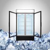 Un frigorifero dei due portelli in provvisto di cardini in o portelli di vetro di scivolamento