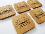 Práctico de costa de madera del cuadrado de encargo de la insignia para la bebida del café del té
