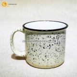 斑点の砂白い400mlのエナメルのコップをカスタム設計しなさい