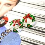 Mini orecchini rossi della vite prigioniera della corona di natale dello smalto del Rhinestone