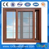 Finestra di scivolamento indurita alluminio di legno di vetro del grano doppia con la rete dell'acciaio inossidabile