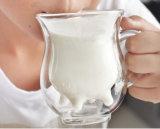 Cuvette élevée de lait de tasse de lait de Borosilcate de double mur anti-calorique de logo d'OEM