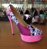 Chaussures imprimées africaines de dames de talon haut de tissus de nouveau modèle (HCY02-1396-1)