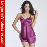 Insieme di seta della biancheria degli indumenti da notte dei pigiami dell'imbracatura di emulazione della Rimorchiare-Parte delle donne sexy