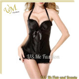Повышения груди Halter сатинировки корсет Bodyshaper Silk безшовного сексуальный черный