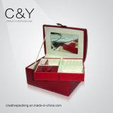 Caixa de jóia de couro vermelha do projeto 2016 novo