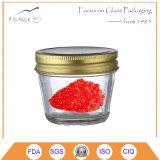 Ясный стеклянный опарник с крышкой металла золота для цели Cavair консервируя