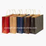 Bon marché en gros réutilisent des sacs de transporteur de papier de Brown emballage avec le traitement Twisted