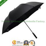 Qualitätsfiberglas-automatischer geöffneter windundurchlässiger schwarzer Golf-Regenschirm (GOL-0027FAC)