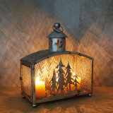 Lanterne blanche de bougie du fer DEL de décoration à la maison
